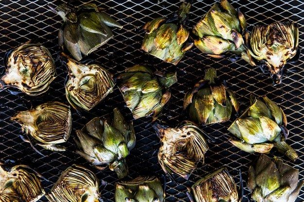 "<p><a rel=""nofollow"" href=""http://www.bonappetit.com/recipe/grilled-baby-artichokes-aleppo-pepper-parmesan?mbid=synd_huffpotaste"" target=""_blank"">Grilled baby artichokes with aleppo pepper and Parmesan</a> are a labor of love.</p>"
