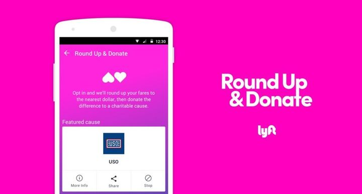 "A screengrab of Lyft's new ""Round Up & Donate"" program, set to debut on Android devices May 1."