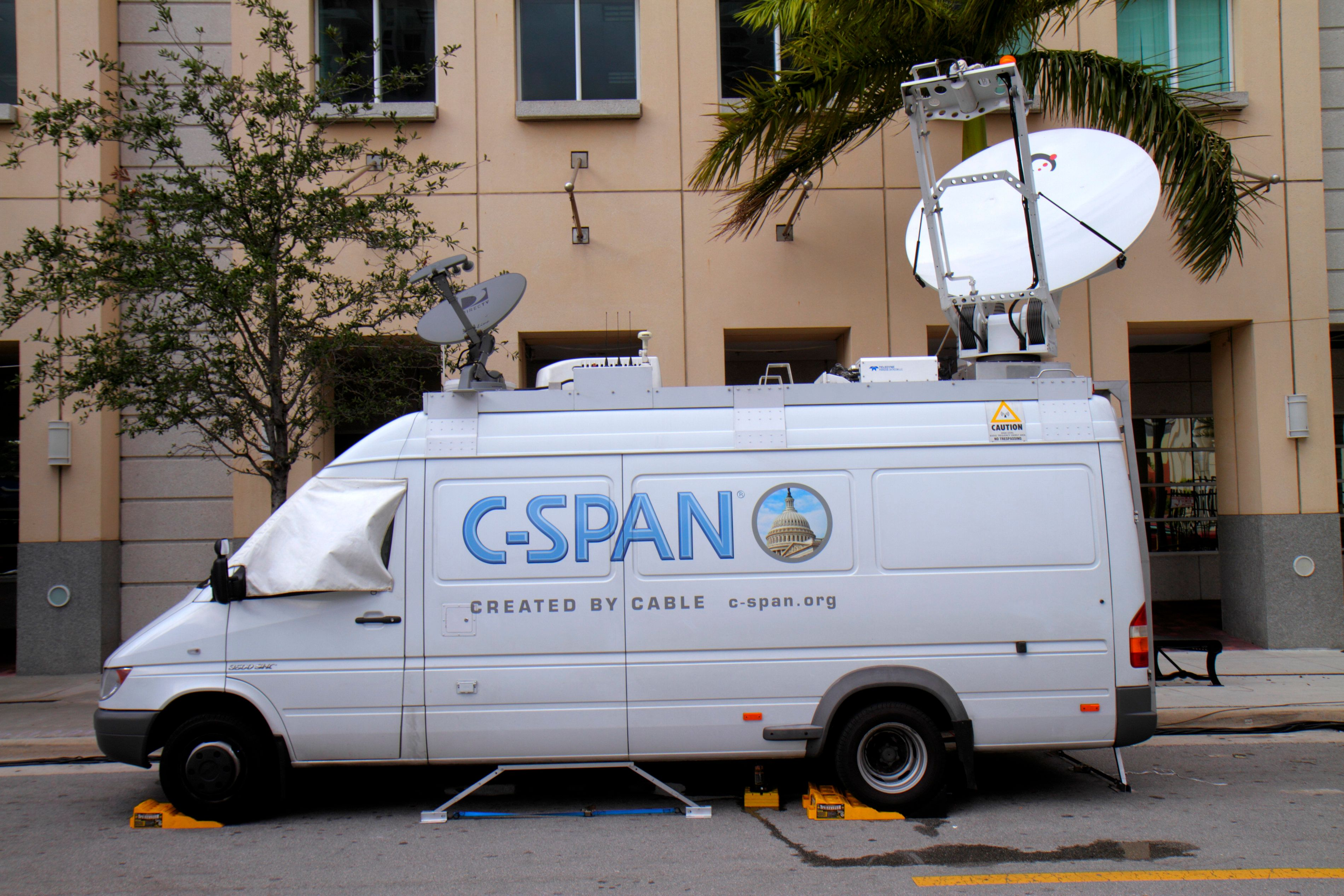 A C-Span mobile transmitter van. (Photo by: Jeff Greenberg/UIG via Getty Images)