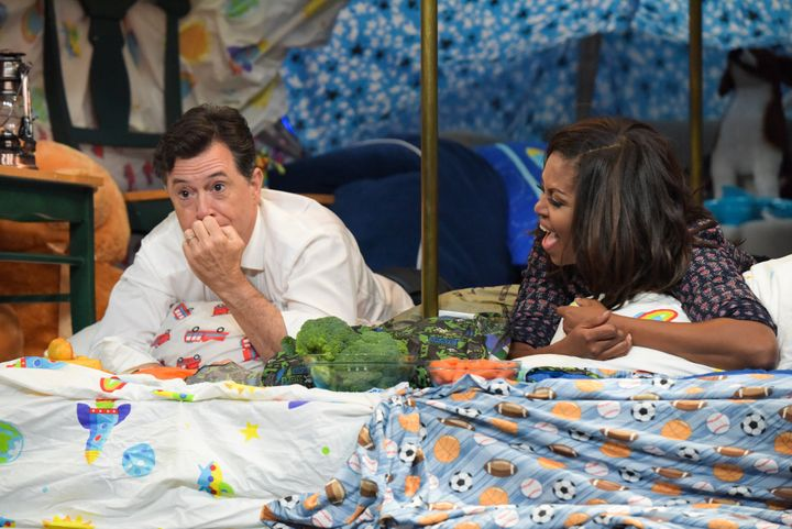 Michelle Obama with Stephen Colbert in September.