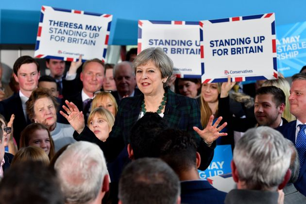Prime Minister Theresa May speaks at a general election campaign event at the Shine Centre in