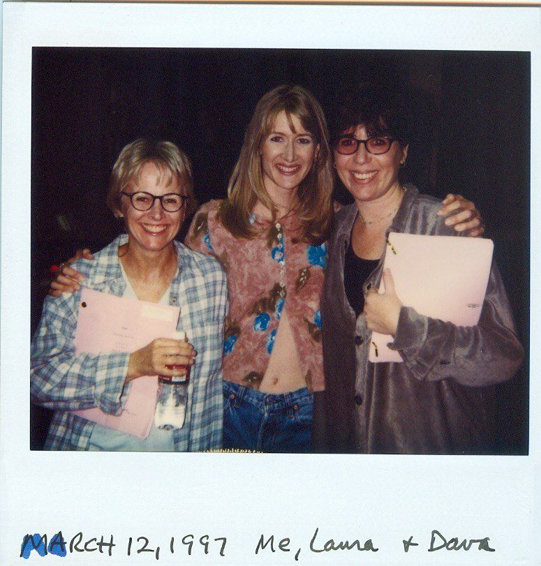 "Tracy Newman, Laura Dern and Dava Savel during the filming of ""The Puppy Episode."""