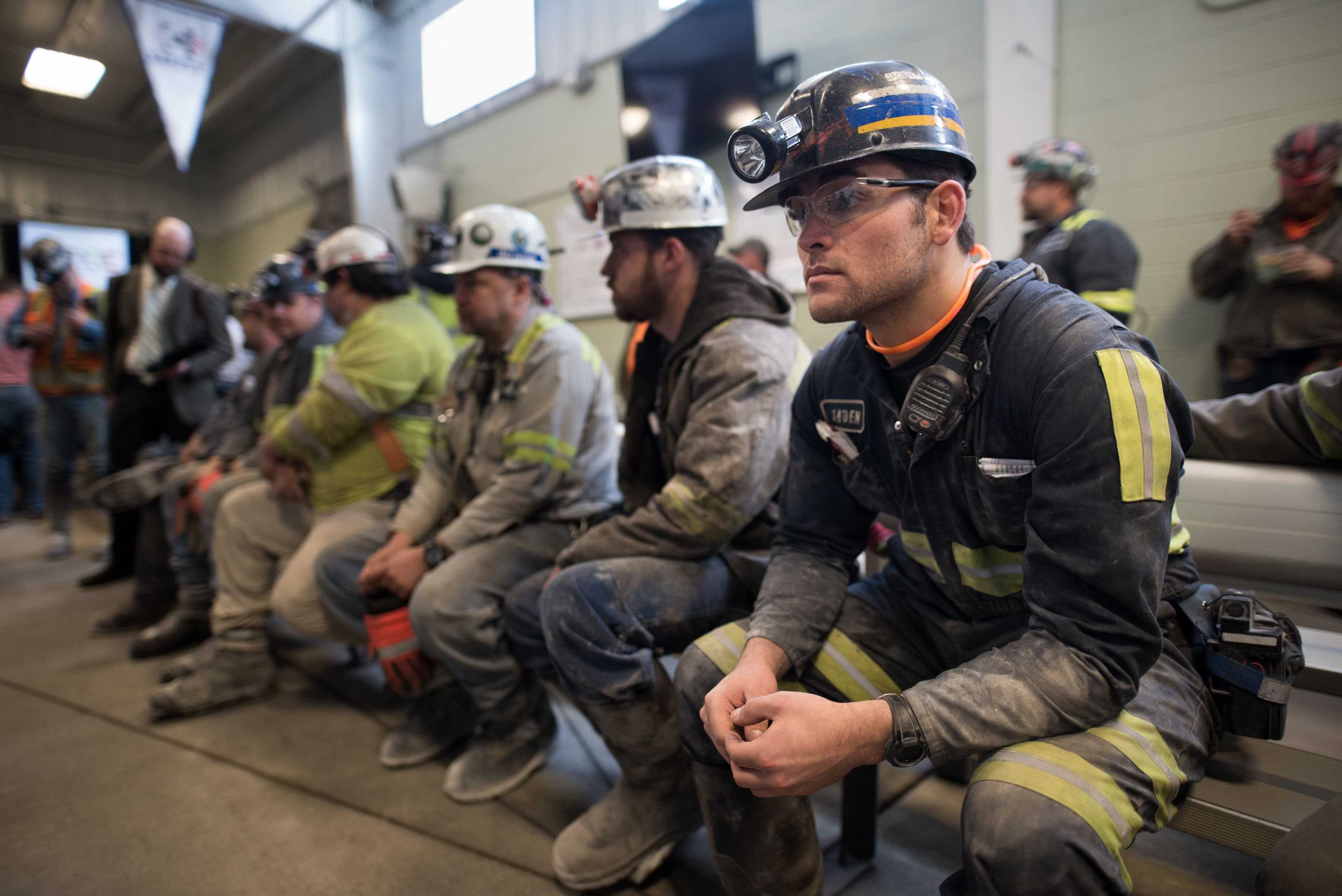 SYCAMORE, PA - APRIL 13:  Coal miner Jaden Fredrickson, 26, of Cheat Lake, W.Va., waits prior to the arrival of U.S. Environmental Protection Agency Administrator Scott Pruitt who visited the Harvey Mine on April 13, 2017 in Sycamore, Pennsylvania. The Harvey Mine, owned by CNX Coal Resources, is part of the largest underground mining complex in the United States.  (Photo by Justin Merriman/Getty Images)