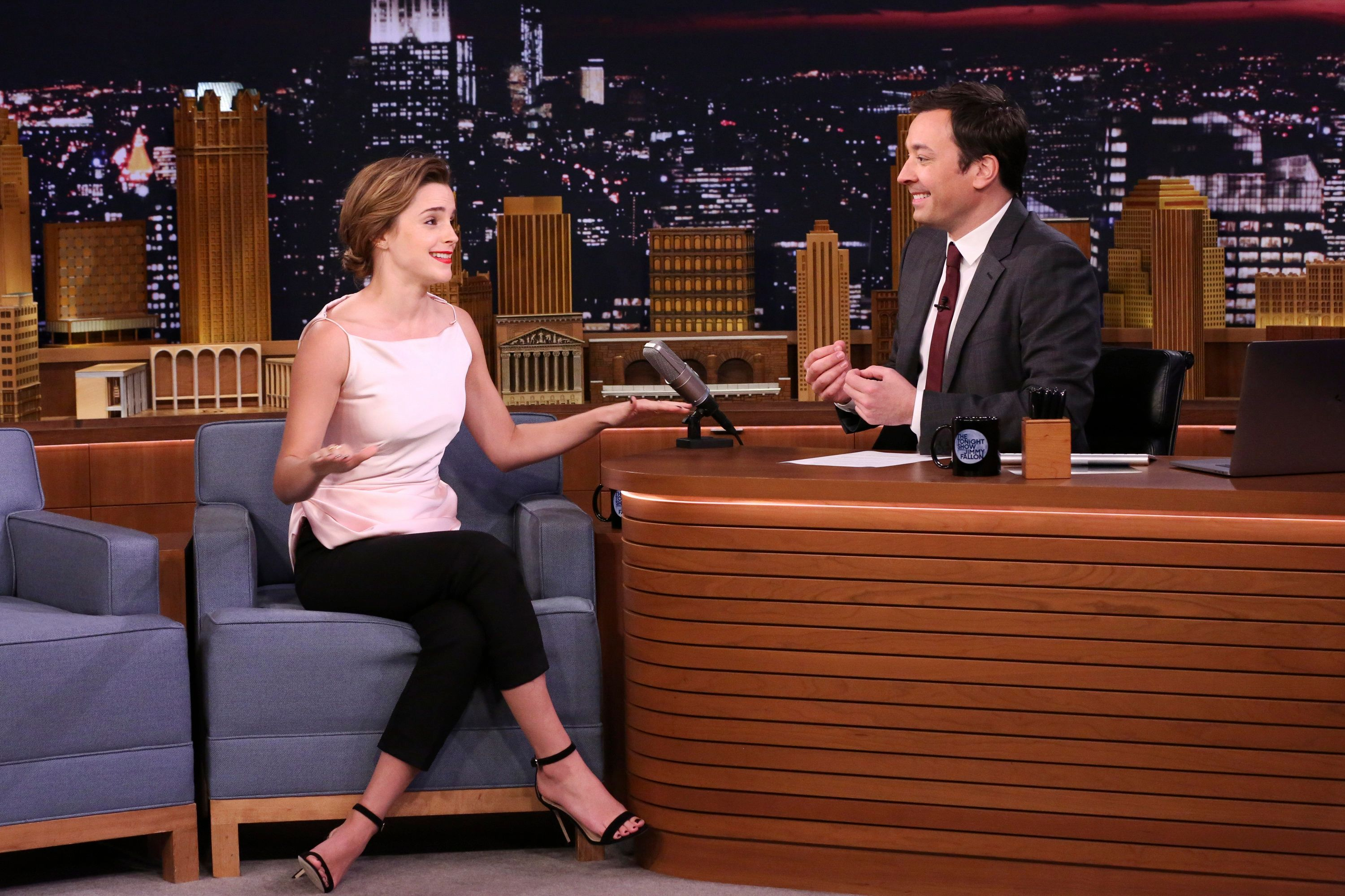 THE TONIGHT SHOW STARRING JIMMY FALLON -- Episode 0663 -- Pictured: (l-r) Actress Emma Watson during an interview with host Jimmy Fallon on April 27, 2017 -- (Photo by: Andrew Lipovsky/NBC/NBCU Photo Bank via Getty Images)