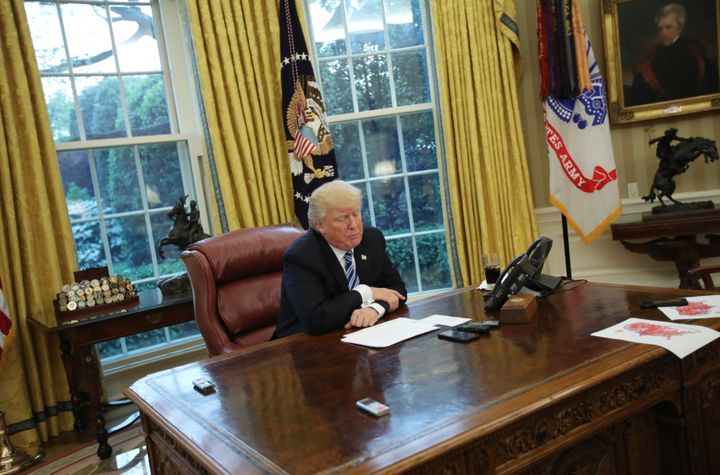U.S. President Donald Trump speaks during an interview with Reuters in the Oval Office of the White House in Washington, U.S.