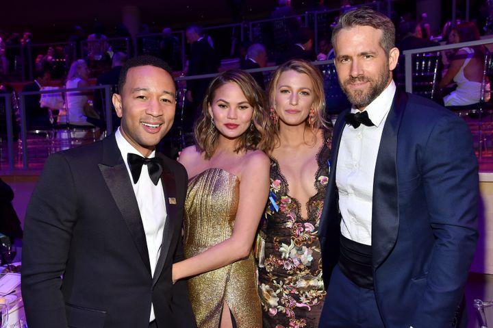John Legend, Chrissy Teigen, Blake Lively and Ryan Reynolds attend the 2017 TIME 100 Gala.