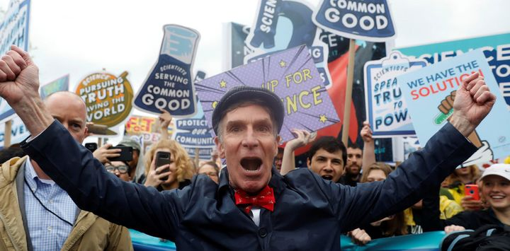 Bill Nye the Science Guy leads a crowd of scientists in the April 22 2017 March on Science in Washington