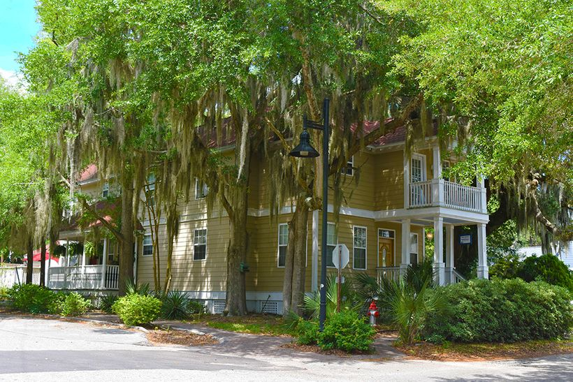Spanish moss drips from trees, adding a Gothic dimension to Beaufort's charming homes and businesses.
