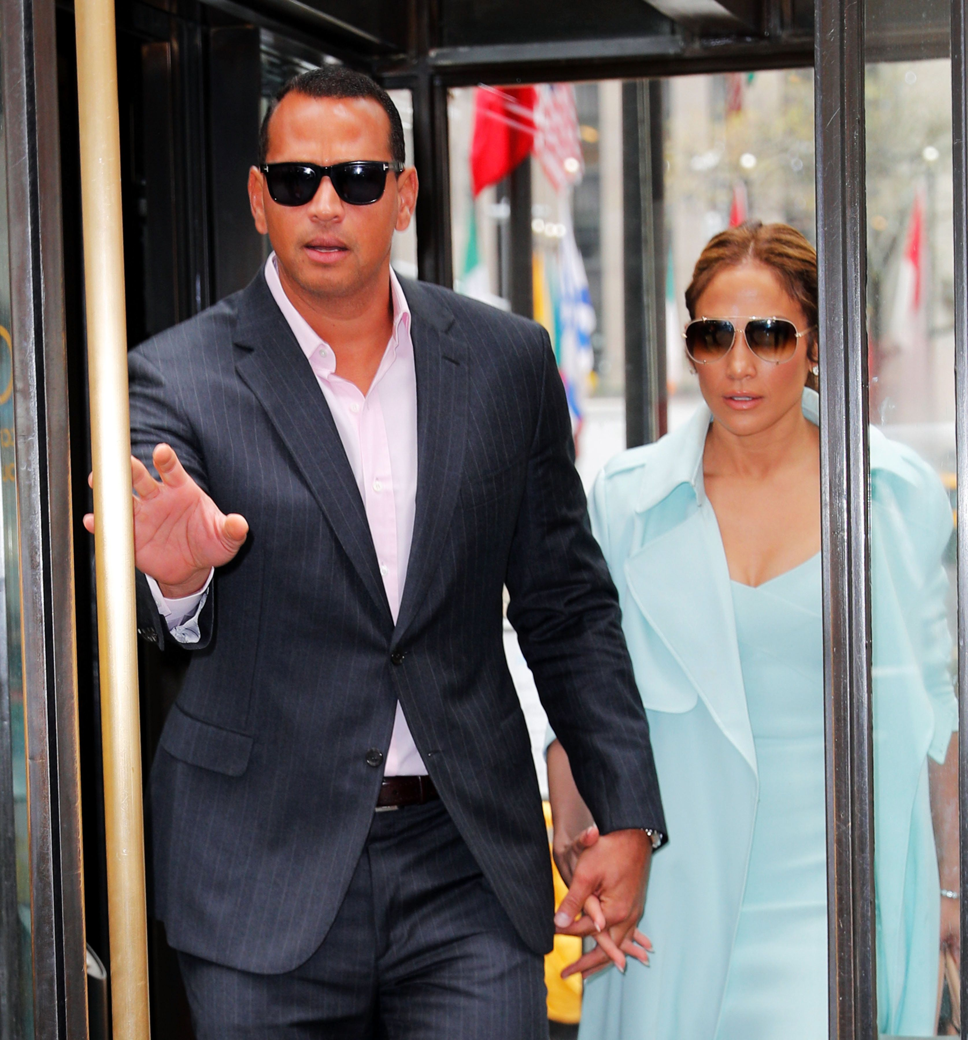NEW YORK, NY - APRIL 24:  Alex Rodriguez and Jennifer Lopez are seen in Midtown on April 24, 2017 in New York City.  (Photo by Gotham/GC Images)