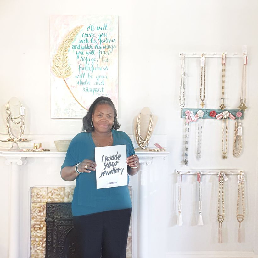 Local artisan partner in North Carolina makes jewelry with ethically sourced beads from around the world.