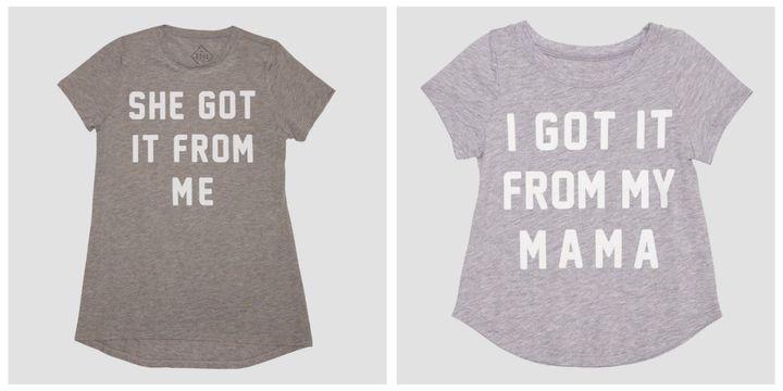 """$12.99 and $6.99,&nbsp;<a href=""""http://www.target.com/p/women-s-got-it-short-sleeve-t-shirt-heather-grey/-/A-52405579"""" target=""""_blank"""">here</a>&nbsp;and <a href=""""http://www.target.com/p/toddler-girls-got-it-short-sleeve-t-shirt-heather-grey/-/A-52405554"""" target=""""_blank"""">here</a>"""