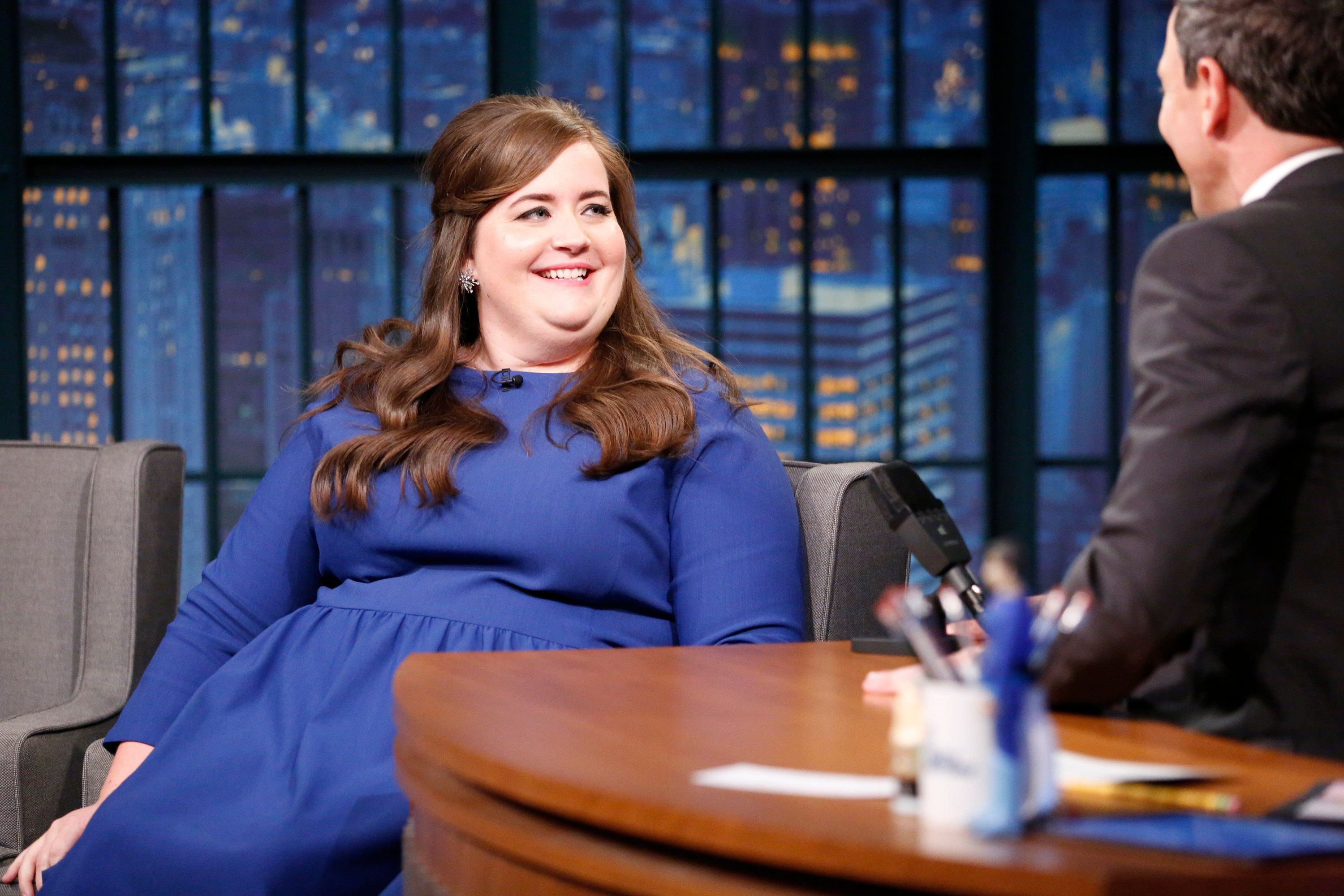 LATE NIGHT WITH SETH MEYERS -- Episode 519 -- Pictured: (l-r) Comedian Aidy Bryant during an interview with host Seth Meyers on April 27, 2017 -- (Photo by: Lloyd Bishop/NBC/NBCU Photo Bank via Getty Images)