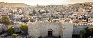 COPY SPACE MINARET CRYING JUDAISM ISLAM HISTORY SPIRITUALITY FAMOUS PLACE EAST ARCHITECTURE WAILING WALL JERUSALEM SUNSET MOUNTAIN LAND MOSQUE