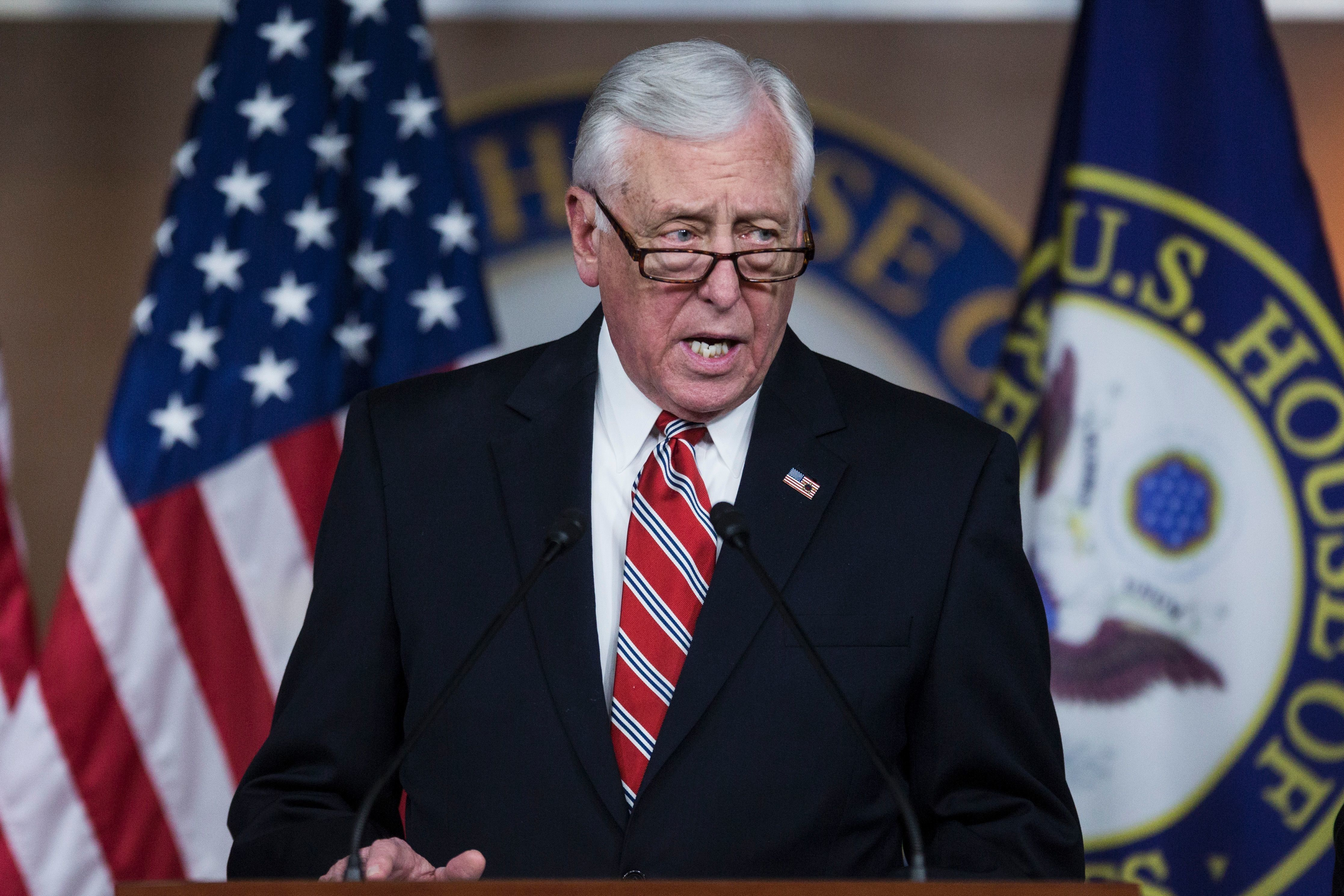 House Minority Whip Steny Hoyer (D-MD) speaks during a news conference discussing Russian sanctions on Capitol Hill February 15, 2017 in Washington, DC.   / AFP / ZACH GIBSON        (Photo credit should read ZACH GIBSON/AFP/Getty Images)
