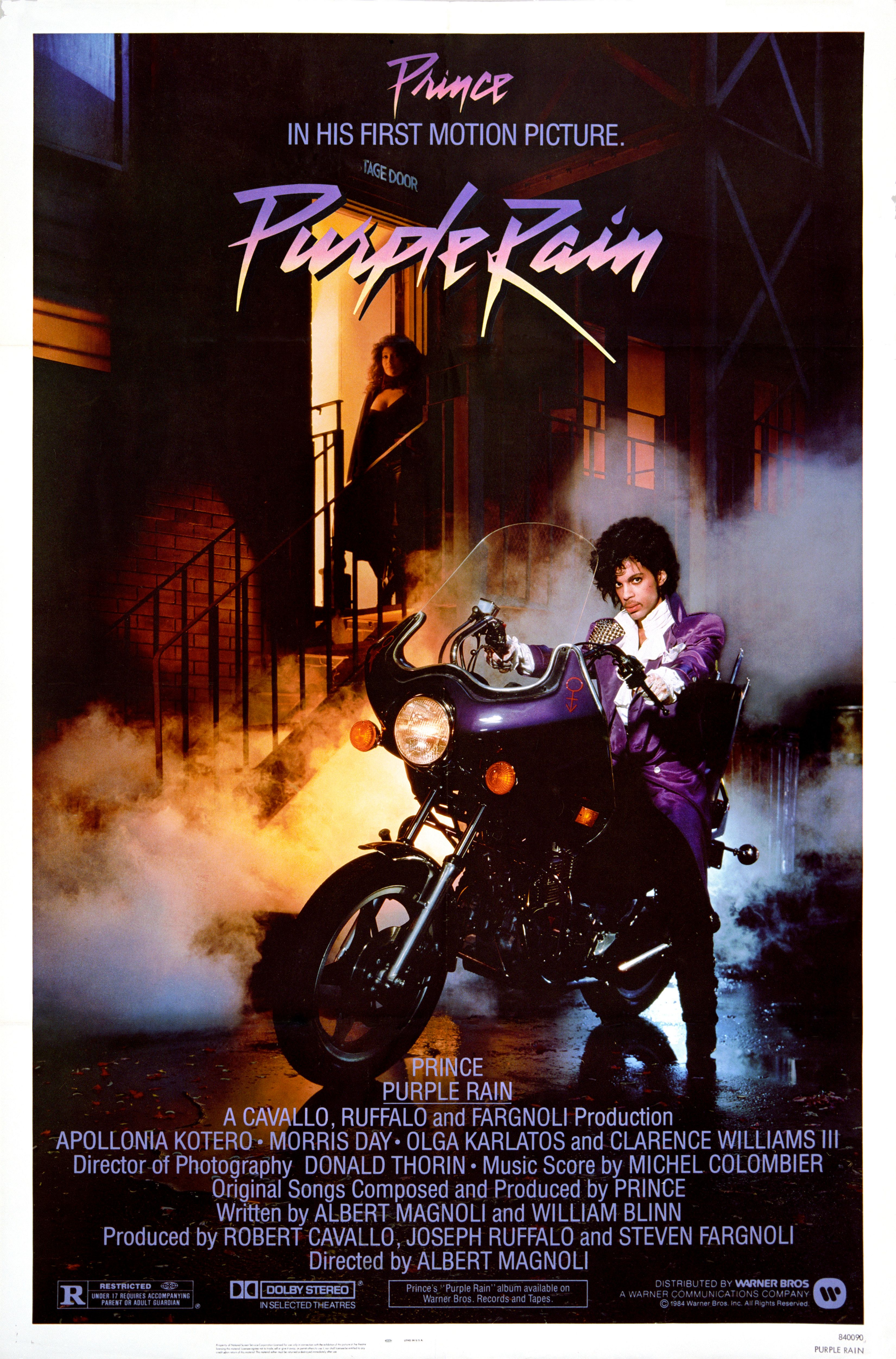 One Sheet movie poster advertises 'Purple Rain' (Warner Bros), starring Prince, Apollonia Kotero, Morris Day, and Clarence Williams III, 1984. (Photo by John D. Kisch/Separate Cinema Archive/Getty Images)