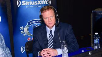 PHILADELPHIA, PA - APRIL 27:  Commissioner of the National Football League, Roger Goodell visits SiriusXM NFL Radio during the first round of the 2017 NFL Draft at Philadelphia Museum of Art on April 27, 2017 in Philadelphia, Pennsylvania.  (Photo by Lisa Lake/Getty Images for SiriusXM)