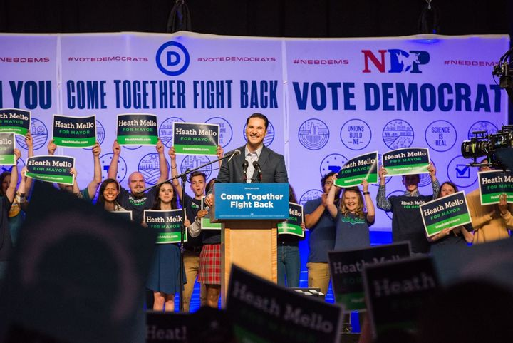 "Heath Mello, a Democratic mayoral candidate in Omaha, Nebraska, addresses a crowd on April 20, 2017, as part of the DNC's ""Co"