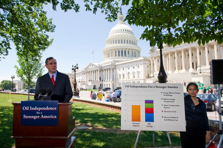 Sen. Merkley during a news conference on the West Front of the U.S. Capitol on legislation he is sponsoring that is aimed at