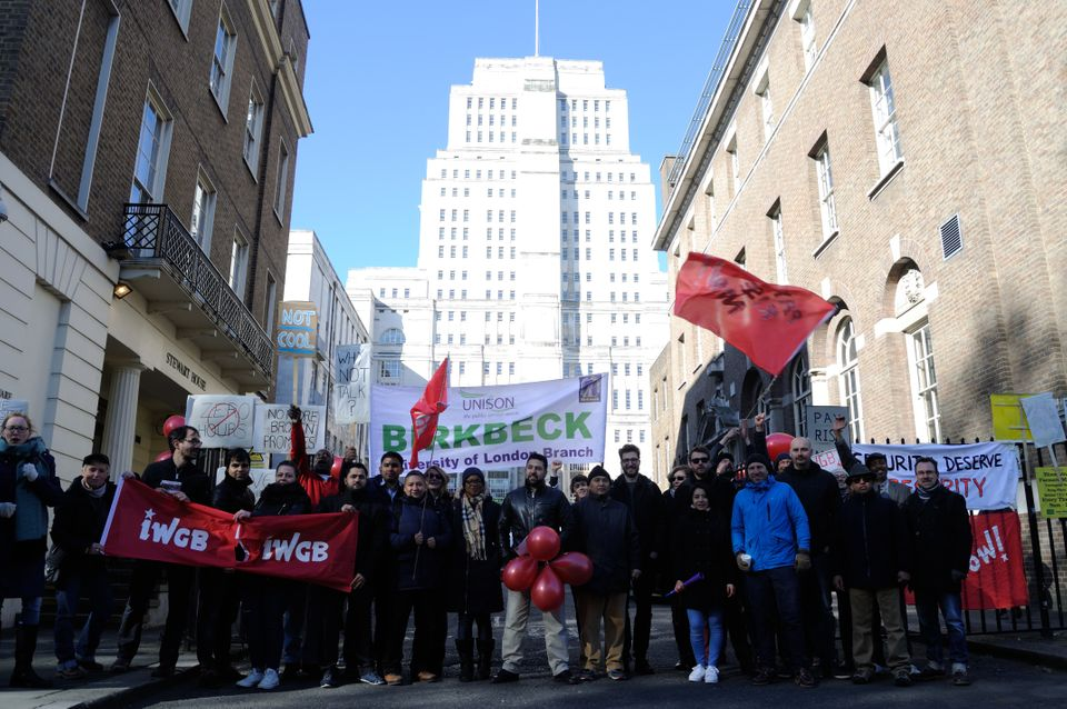 Dozens of security staff at the University of London went on strike over the contracts this