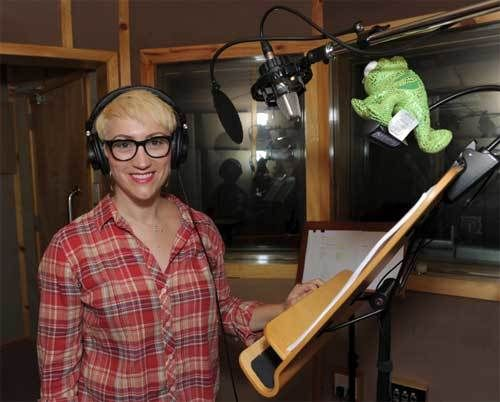 "Eden Espinosa in the recording booth working on Disney ""Tangled: The Series"""