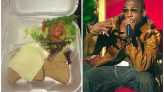 From left to right: A sandwich handed out at the Fyre Festival hip-hop legend Ja Rule