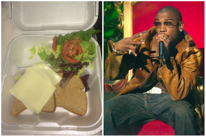 From left to right: A sandwich handed out at the Fyre Festival; hip-hop legend Ja Rule.