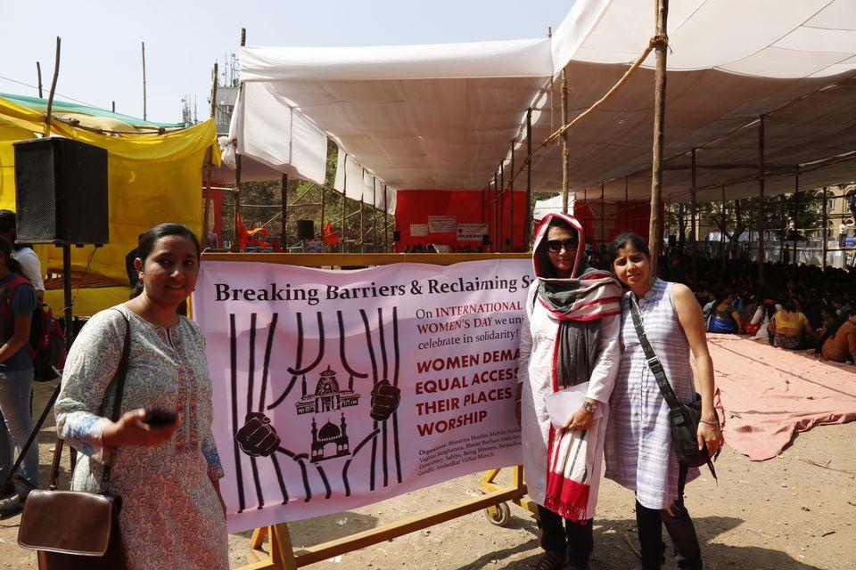 Aarefa Johari, Insia Dariwala and Shaheeda Tavawalla-Kirtane representing Sahiyo at a Womens Day event...
