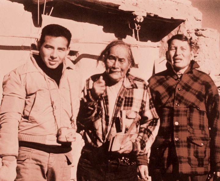 Johnson's father, Col. Caleb Johnson (left);great-grandfather, Poleyestewa (center);andgrandfather,Fred Johnson(right) f