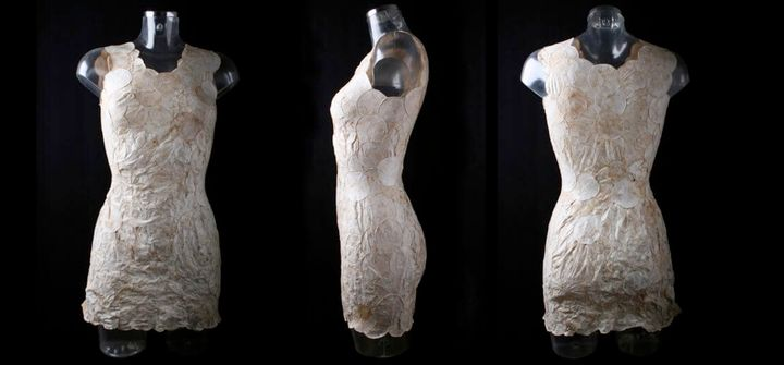 <p>MycoTex is a mushroom-based textile shaped on custom-fitted molds</p>