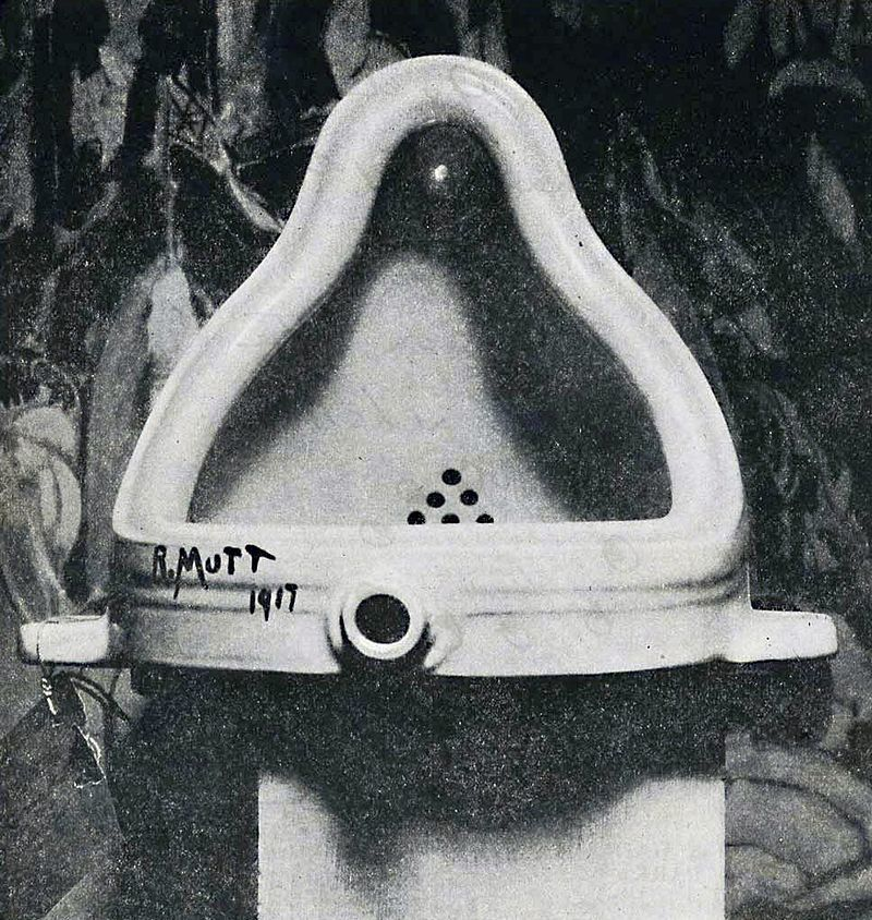 The original <em>Fountain</em> by Marcel Duchamp photographed by Alfred Stieglitz at the 291 (Art Gallery) after the 1917 Soc