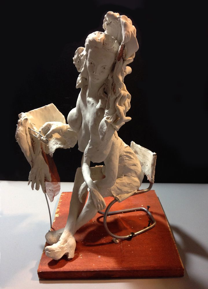 Don Doe, <em>Autopsy Baroque </em>(2015),  reinforced polymer clay, aluminum, copper on wood plinth, 17 x 11 x 12 inches (art