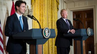 WASHINGTON, DC - FEBRUARY 13: President Donald Trump listens during a news conference with Canadian Prime Minister Justin Trudeau in the East Room of the White House in Washington, DC on Monday, Feb. 13, 2017. (Photo by Jabin Botsford/The Washington Post via Getty Images)