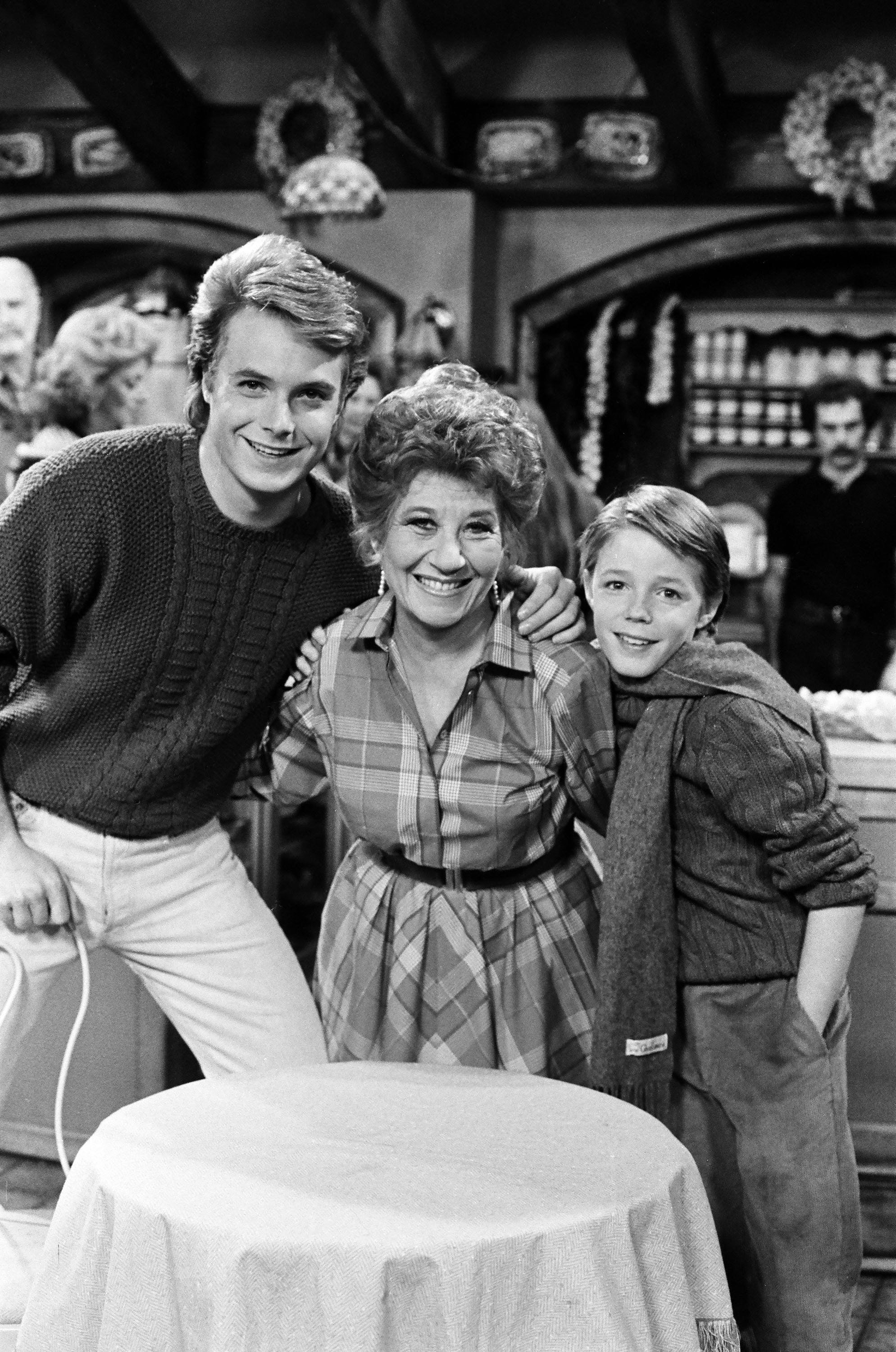 THE FACTS OF LIFE -- 'With a Little Help from My Friends' Episode 18 -- Pictured: (l-r) Ryan Cassidy as Kevin Metcalf, Charlotte Rae as Edna Garrett, Mackenzie Astin as Andy Moffet -- Photo by: Frank Carroll/NBC/NBCU Photo Bank
