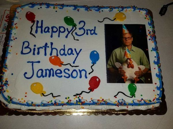 """""""My tiny human said 'Alton' before he said 'mama.' So of course this cake was necessary. Still not happy with the writing or"""