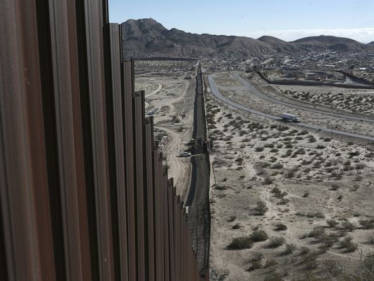 """The president's proposal to build a wall along the U.S.-Mexico border (pictured here) plays on """"trumped up"""""""
