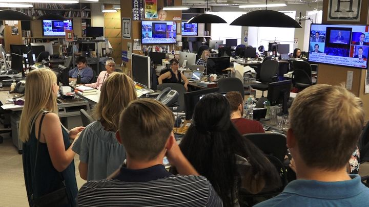 The Pittsburg High School students visit the HuffPost's Washington bureau.