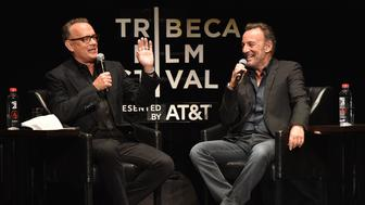NEW YORK, NY - APRIL 28:  Tom Hanks and Bruce Springsteen speak on stage during Tribeca Talks: Bruce Springsteen And Tom Hanks - 2017 Tribeca Film Festival on April 28, 2017 in New York City.  (Photo by Kevin Mazur/Gettty Images for Tribeca Film Festival)