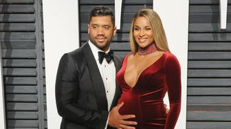 BEVERLY HILLS, CA - FEBRUARY 26:  Professional football player Russell Wilson and singer Ciara arrive at the 2017 Vanity Fair Oscar Party Hosted By Graydon Carter at Wallis Annenberg Center for the Performing Arts on February 26, 2017 in Beverly Hills, California.  (Photo by Jon Kopaloff/FilmMagic)