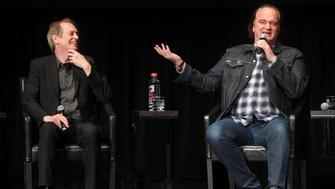 NEW YORK, NY - APRIL 28:  Steve Buscemi and Quentin Tarantino speak onstage during the panel for the 'Reservoir Dogs' Screening during 2017 Tribeca Film Festival on April 28, 2017 in New York City.  (Photo by Jamie McCarthy/Getty Images for Tribeca Film Festival)