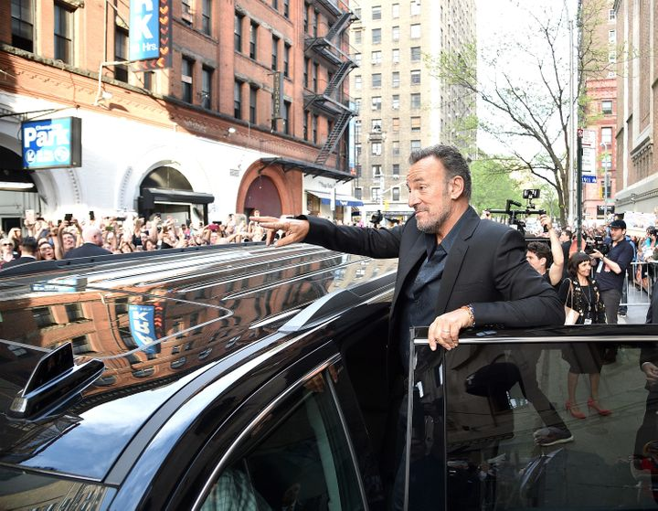 Bruce Springsteen waves to fans after Tribeca Talks: Bruce Springsteen And Tom Hanks on April 28, 2017 in New York City.