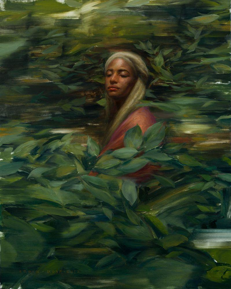 """<em>Among The Leaves</em>, Oil on Linen, 30""""x24"""", 2015"""