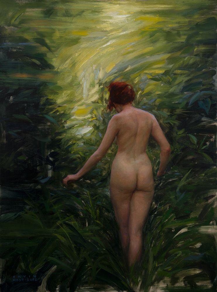 """<em>Into the Woods</em>, Oil on Linen, 40""""x30"""", 2015"""