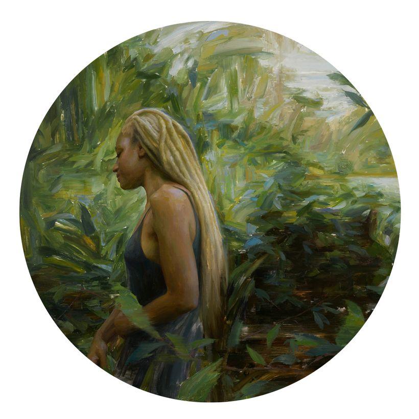 """<em>Untitled No.1</em>, Oil on Panel, 30"""" Diameter, 2016"""