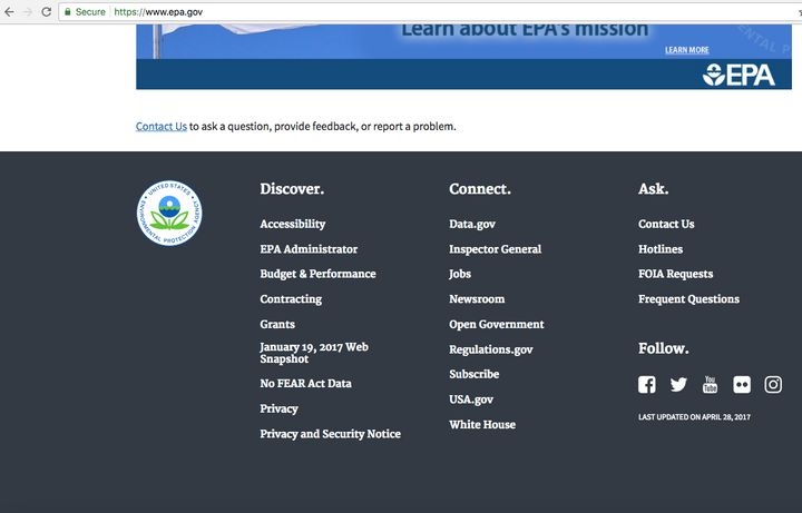 Users now have to scroll to the bottom of the EPA's website to see an archived version of the site that contains inform