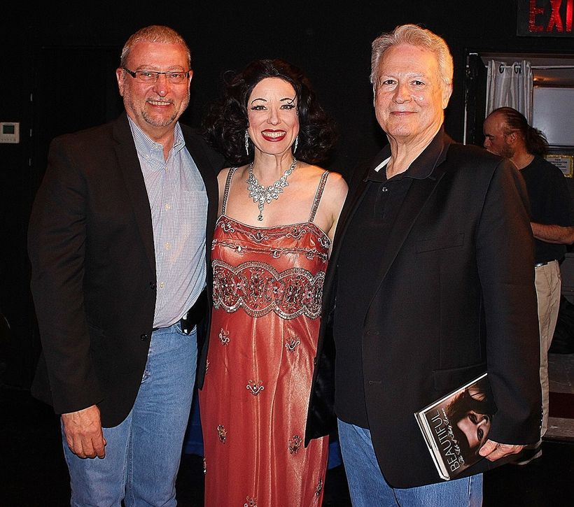 Heather Massie as Hedy Lamarr with Lamarr biographer Stephen Michael Shearer (right)