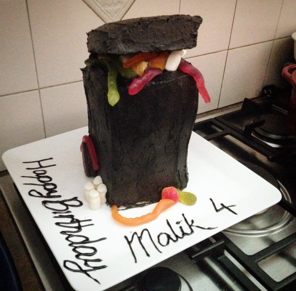 """I made a wheelie bin cake for my sons 4th"" -- Sahra O'Doherty"