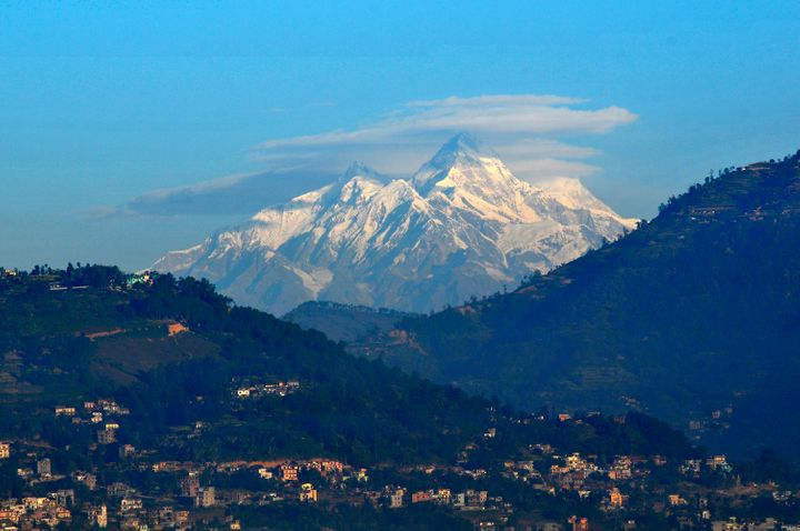 The Himalayas as seen from Kathmandu valley in Nepal