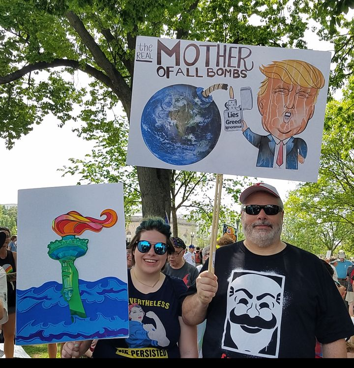 Leia and David Boeke of Pennington, New Jersey at the Peoples Climate March in Washington, D.C.