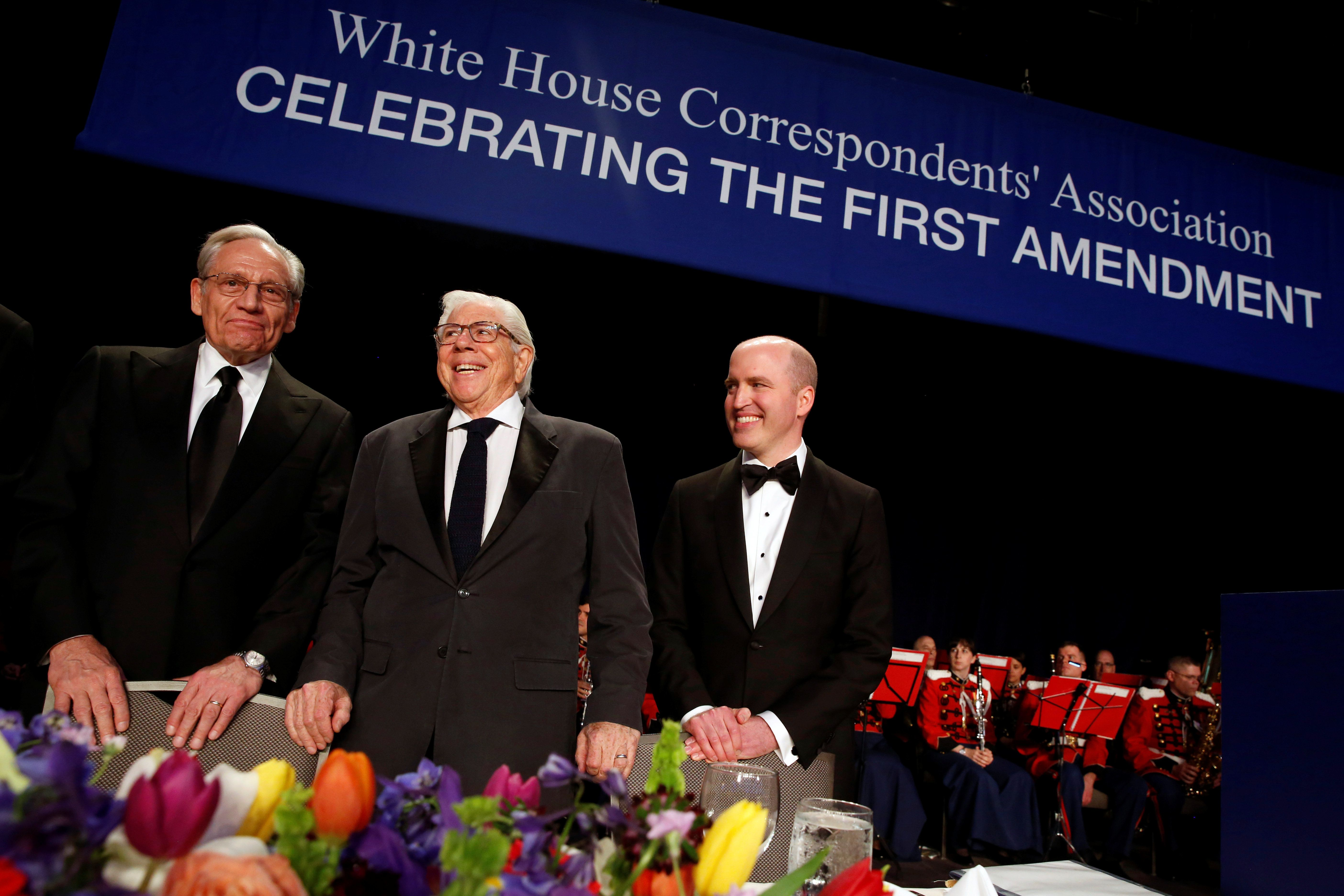 Famed Watergate reporters Bob Woodward and Carl Bernstein championed the role of the press on Saturday night, alongside White