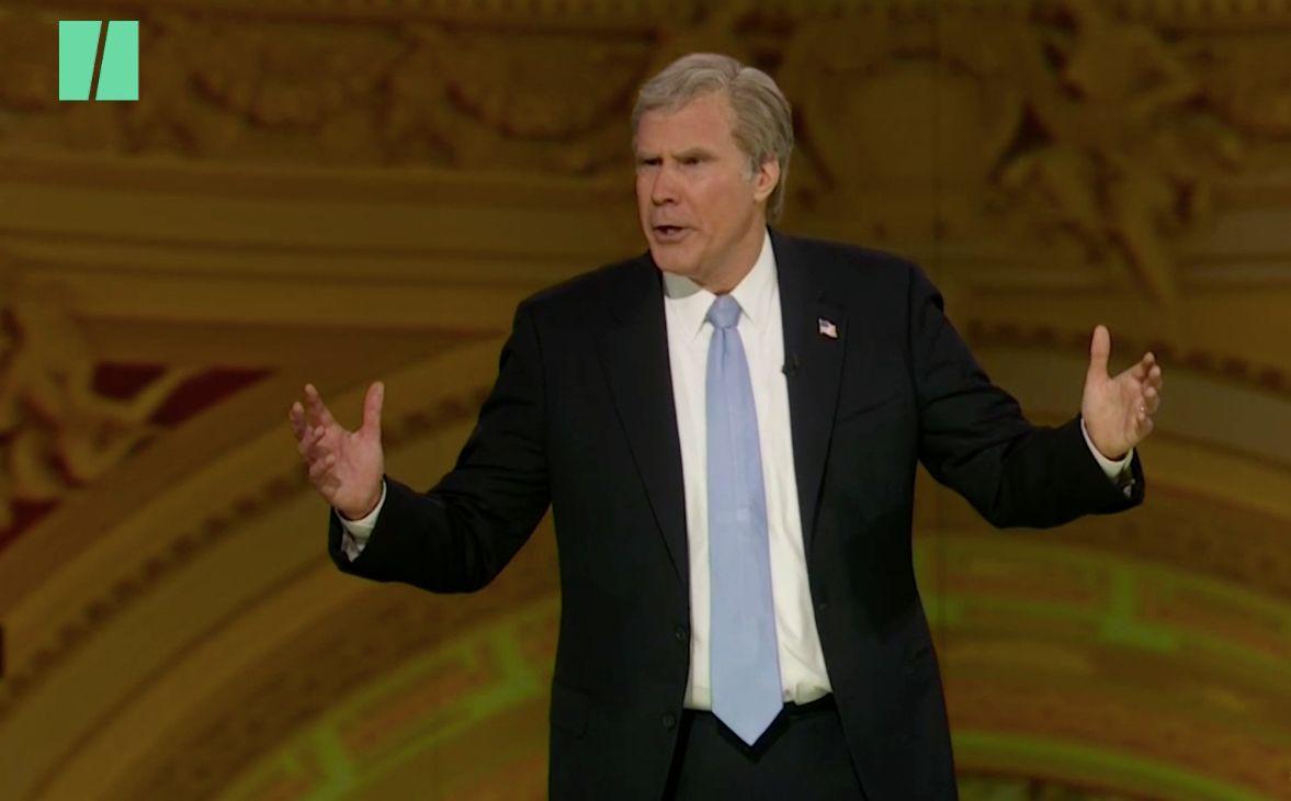 Will Ferrell imitating former President Bush at the Not White House Correspondents Dinner